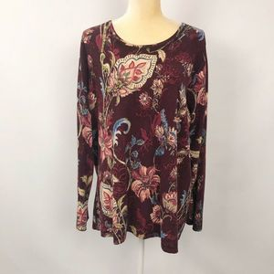 Chicos Lightweight Sweater Knit Top Red Floral